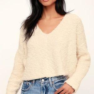 NWT Free People Popcorn Pullover Sweater Cream